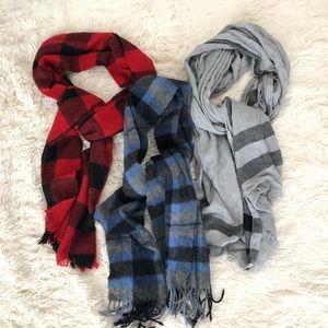 Lot of 3 plaid scarves J. crew/ cashmere/ no brand
